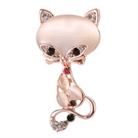 Wholesale fox brooches for sale - Group buy Gold Filled Brooch Cute Animal Fabala Opal Stone Jewelry Pin Fox Multicolor