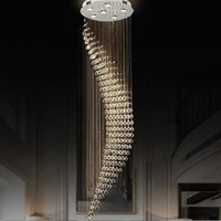 Wholesale pendant stair lamp resale online - Crystal Chandeliers Light Fixtures Modern Lamp for Living Room Hotel hall Indoor Decoration long Stair pendant Lamp L
