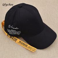 gorras de streetwear al por mayor-Qlychee Letter Print Cinta larga Sombrero de béisbol Casual Harajuku Gorras unisex Streetwear Black Yellow Caps