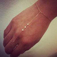 Wholesale slaves gold resale online - New Simple Fashion Finger Chain gold color Slave Chain Bracelet Multi Layer crystal Bracelet Jewelry Charm For Women ns18