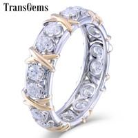 14k 585 diamantring großhandel-Transgems Solide 14 karat 585 Gelb Und Weißgold Moissanite Diamant Ewigkeit Hochzeitsband Engagement Jubiläum Ring Für Frauen C19032501