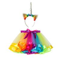 ingrosso tutu nero per i bambini-Vestiti del progettista dei vestiti dalla ragazza dei bambini con i vestiti dal tutu del Rainbow della principessa delle ragazze dell'infante del bambino dei vestiti del progettista di Bowknot del bambino