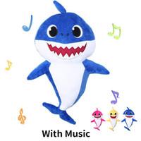 Wholesale plush stuffed animals online - 3 Colors cm Baby Shark Plush Toys with Music Led light Cartoon Stuffed Lovely Animal Soft Dolls Music Shark Plush Animals
