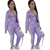 Wholesale yoga pant fabric resale online - Hot Stamping Fabric Two Pieces Outfits Women Light Purple Long Sleeves Top and Pants Sexy Nightclub Party Outfits Newest