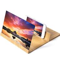 складные сотовые телефоны оптовых-12 дюймов HD экран лупа 3D сотовый телефон фильмы усилитель древесины зерна с Складной держатель стенд для iPhone XS MAX XR Samsung S9 Note9