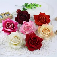 Wholesale diy rose headband resale online - 7cm High Quality Real Touch Artificial Velvet Rose Flower Heads For DIY Brooch Headband Hairclip Wedding Wreath Hair Accessories