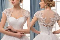 boleros parti elbiseleri toptan satış-Beyaz Kadınlar Dantel Sarar Zarif Pelerin Kollu Boleros Basit Illusion Parti Ceket Pelerin Abiye Düğün Örgün Şallar 2019