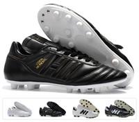 botas negras para hombre con descuento al por mayor-Hot Classics Hombres Copa Mundial Cuero FG Zapatos de fútbol Botines de descuento Copa Mundial de Fútbol Botas Negro Blanco botines futbol Tamaño 39-45