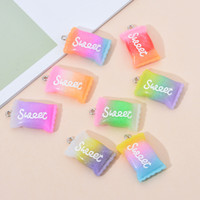 10PCS Lot of Gradient Color Resin Sweet Candy Pendant Charms Handmade DIY Accessories Goodies Necklace Keychains Earrings