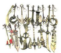 pendentif épée en alliage achat en gros de-Divers 100pcs boucle de style clé LOL jeu League of Legends Weaponry Modèle Porte-clés Blade Master Pendentif alliage épée clés anneau de métal Galen