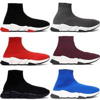 высококачественная обувь для мужчин оптовых-2019 Лучшее Качество Speed Trainer Черный Дизайнерские Кроссовки Мужчины Женщины Черный Красный Повседневная Обувь Модные Носки Сапоги Топ Сапоги Size36-45