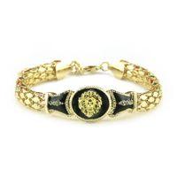 pulseiras pesadas venda por atacado-Bulgária Jóias Chunky Leão Cabeça Pulseira de Hip Hop Pulseira Cadeia de Ligação de Ouro para Pulseira de Rock Masculino Pulseiras Pulseras 21 + 7 cm