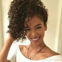 Wholesale ponytail kinky curly hair extension for sale - Group buy kinky curly ponytail human hair extension clip in drawstring ponytail hairpiece fashion women hair pony tail g