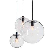 glaskugeln pendelleuchten großhandel-Rope Pendelleuchten Globe Chrome Glass Ball Hanglamp Lustre Suspension Küchenleuchten Fixture Home Hängelampen E27
