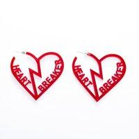 kırmızı akrilik küpeler toptan satış-Romantik Temizle Kırmızı kırık Kalp Mektup KALP KIRICI Çember Küpe Kadınlar Için Abartma Büyük Akrilik Küpe oymak E19097
