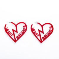 rote acrylohrringe großhandel-Romantische Clear Red gebrochenes Herz Brief HEART BREAKER Creolen für Frauen Übertreibung große aushöhlen Acryl Ohrringe E19097