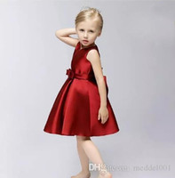 Wholesale new arrival dress for children for sale - Group buy 2019 New Arrival Red A Line Sleeveless Knee Length Dress Heart shaped Collar Ribbon Girls Pageant Dresses For Little Child