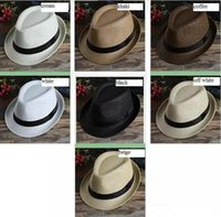 Wholesale fedora hat mens fashion resale online - MOQ Fashion Womens Mens Unisex Fedora Trilby Gangster Cap Summer Beach Sun Straw Panama Hat Couples Lovers Hat