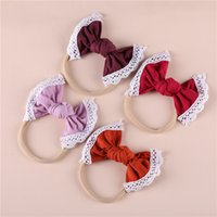 Wholesale baby headwraps for sale - Group buy 27 Colors Lace Bows Nylon Headbands Knot Bow Elastic Stretchy Thinny Nylon Hairbands With Soft Head Bands Baby Girls Headwraps