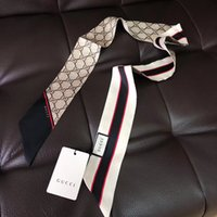 bufandas diademas al por mayor-Diseñador de lujo Bolso de Seda bolsa de bufanda Bandas para la cabeza Nueva marca de seda de las mujeres 100% Top grado seda bolsa bufanda Bandas de pelo 8x120 cm