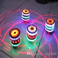 ingrosso giocattolo di filatura leggera-Fidget spinner Giocattoli per bambini Musical Gyro Flash LED Light Colorful Spinning Imitazione legno giroscopio glitter 7 colori musica leggera terra giocattolo fabbrica