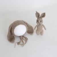ingrosso animale del cofano del bambino-Vintage Bunny Hat Knit Baby Fuzzy Bonnet Crochet Animal Soft Hat Neonato Fotografia Puntelli