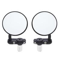 evrensel motosiklet yan aynaları toptan satış-2adet Evrensel Motosiklet Ayna Alüminyum Siyah 22mm Bar Bitiş Dikiz Yan Aynalar Motor Aksesuarları Kulp