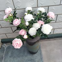 Wholesale hanging basket for plants resale online - peony artificial flower pot culture green plant Wedding office furnishings flowers per bunch many colors for choose