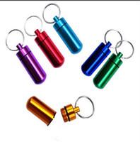Wholesale mini pill bottles for sale - Group buy 100pcs Mini Waterproof Pill Box Key rings Metal Keychain Storage Sealed Medicine Bottle Key chain Outdoor Travel Portable Bottles R349