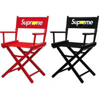 Wholesale camping chairs folding resale online - Red S Letter Folding Chair Red Black High Quality Director Chair Solid Wood Stool Fishing Field Camping Chair Popular Logo