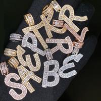 ingrosso collane originali di gioielli-A-Z Baguette Iniziale Collana con ciondolo a forma di lettera con catena a corda da 24 pollici, bracciale in oro argento con zirconi, uomini e donne