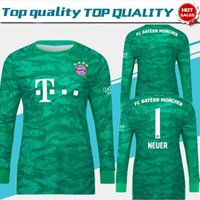 camisas personalizadas de futebol manga longa venda por atacado-Camisas de futebol de goleiro de manga longa Bayern # 1 NEUER 19/20 Adulto goleiro camisas de futebol verde Bayern Munique personalizado uniformes Fotball