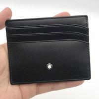 billetera de metal con estuche al por mayor-Diseñador Titular de la tarjeta de crédito Cartera Ultra-delgada Cartera de cuero real Titular de la tarjeta Moda Hombres / Mujeres Slim Bank ID Card Case con caja