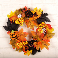 декор кленового листа оптовых-Halloween Party украшения Maple Leaf Венок Simulation Garland висячие Окно дисплея Декор тыквы Череп Хэллоуин Венок DBC VT0846