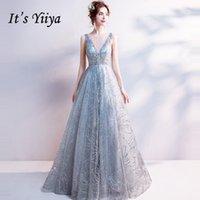 abendkleid hellgrau großhandel-Es ist Yiiya Light Grey V-Ausschnitt Luxus Abendkleider Bling Pailletten bodenlangen berühmten Designer Party Formal Dress