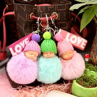 Wholesale indian key charm resale online - Cute Cartoon Sleeping Baby Doll Keychain Love Ribbon Plush Doll Keychain Fluffy Pompom Doll Key Ring Women s Handbag Charm Gift
