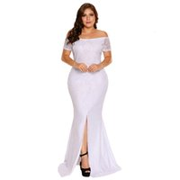 Wholesale cover code resale online - Code Enlarge Woman Undergarment Covering Chest And Abdomen One Word Collar Short Sleeve Lace Fork Opening Mop The Floor Dress