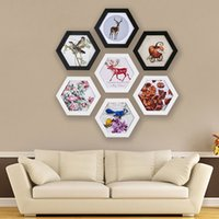 Wholesale family home decor for sale - Group buy Photo Frame Hexagon Picture Frame Wall Wedding Family Picture Display Vintage Photo Frames Holder Home Decor