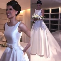 Wholesale sexy wedding dresses bows resale online - 2020 Arabic A Line Wedding Dresses Scoop Neck Satin Sleeveless Sashes With Bow Sexy Open Back Sweep Train Simple Cheap Formal Bridal Gowns