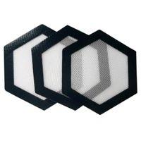 almohadillas de bho al por mayor-Calidad FDA grado alimenticio reutilizable antiadherente concentrado bho aceite de la mancha Hexágono forma resistente al calor fibra de vidrio silicona dab pad mat