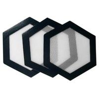 kaliteli ısı yastığı toptan satış-Kalite FDA gıda sınıfı kullanımlık yapışmaz konsantre bho balmumu kaygan yağ Altıgen şekil isıya dayanıklı fiberglas silikon dab ped mat
