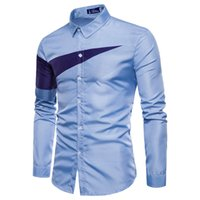 bluz uzun kollu satışı toptan satış-Sıcak satış yeni erkekler İnce uzun kollu gömlek Avrupa boyutu üçgen baskılı uzun kollu gömlek bahar bluz trendy erkek gömlek