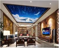 techo de pesca al por mayor-Fondos de pantalla de fotos personalizados Papel tapiz mural de techo 3d Hermoso sueño cielo estrellado luna nube blanca pez grande sala de estar cenit murales de techo