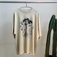 eingefärbte t-shirts großhandel-19SS Kanye Westsonntag kleines Mädchen Tuschemalerei T-Shirt reine Farbe atmungsaktiv solide einfache Straße T-Shirt Mode neue Shirt lässig T-Shirt HFHLTX029