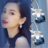 Wholesale square hoop earrings for women for sale - Group buy 2019 New Arrivals Hot Trendy Fashion Flowers Bijoux Brincos Oorbellen Square Colorful Crystal Hoop Earrings For Women Jewelry