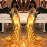 ingrosso vestito chiffon dalla damigella d'onore del merletto-Glamorous Keyhole Mermaid High-Neck Lace Prom Dresses Beads Yellow Prom Dresses Abiti formali Evening Wear Plus Size
