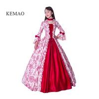 vintage victorian kostüme frauen großhandel-Victorian Rococo Costume Damen Adults 'Dress Rot Vintage Cosplay beflockt mit langen Ärmeln Bell knöchellangen