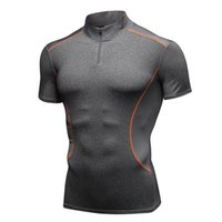 ingrosso asciugare sportivo fit magliette-T-shirt da uomo Sport Colletto Fitness manica corta Stretch Quick Dry T-shirt aderenti Fit Running Basket Training Tees Tops