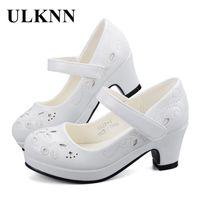 navy baby fotografías al por mayor-ULKNN Primavera Otoño Niñas Princesa Zapatos de Cuero Flores Niños Zapatos de Tacón Alto Para Niñas Zapato Fiesta Vestido de Boda Niños