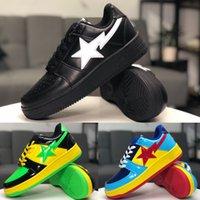 womans shoe großhandel-[Original Box] klassische Restaurierung Skateschuhe Fußsoldat BAPESTA Leder gespleißt Sportschuhe Hohe Qualität Mans Womans Schuhe Größe 36-45